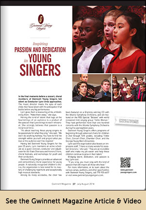 Gwinnett Young Singers Article and Video in Gwinnett Magazine